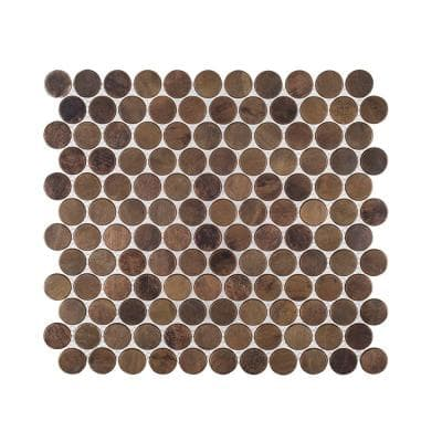 Copper Pennies Brown 11.875 in. x 11.625 in. Penny Round Brushed Metal Mosaic Tile (0.958 sq. ft./Each)