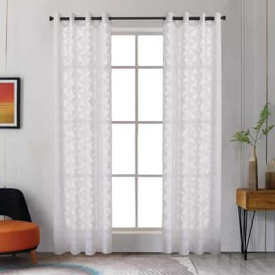 Blake 108 in.L x 54 in. W Sheer Polyester Curtain in White