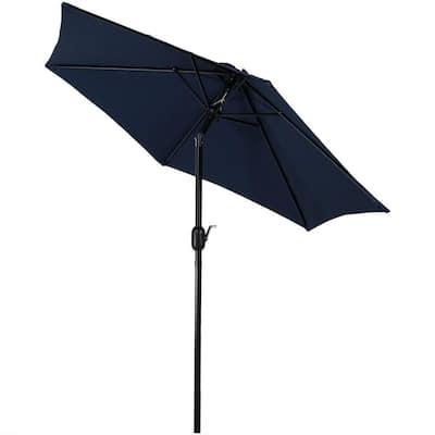 7.5 ft. Aluminum Market Tilt Patio Umbrella in Blue