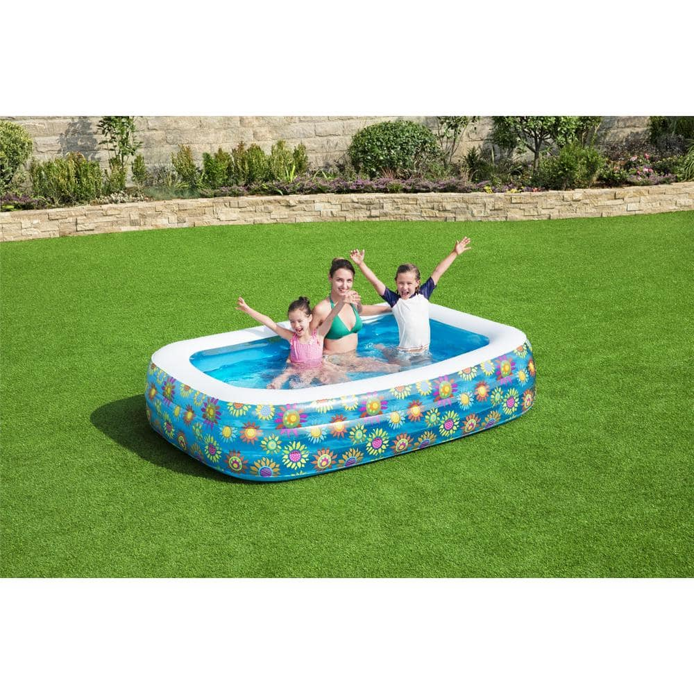Bestway Family 96 In X 22 In Rectangular 60 In Deep Above Ground Inflatable Pool 54120 The Home Depot