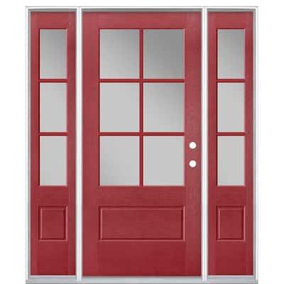 64 in. x 80 in. Vista Grande Painted Left-Hand Inswing 3/4 Lite Clear Glass Fiberglass Prehung Front Door and Sidelites