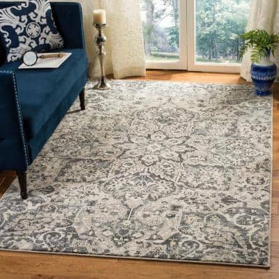 Carmel Ivory/Gray 4 ft. x 6 ft. Floral Area Rug