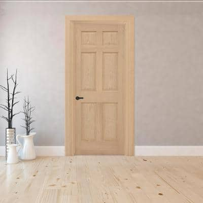 30 in. x 80 in. 6-Panel Right-Hand Unfinished Red Oak Wood Single Prehung Interior Door with Nickel Hinges