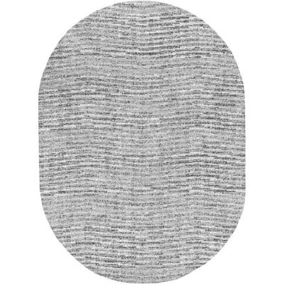 Sherill Modern Ripples Gray 7 ft. x 9 ft. Oval Rug