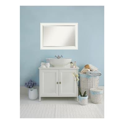Craftsman 41 in. W x 29 in. H Framed Rectangular Beveled Edge Bathroom Vanity Mirror in White