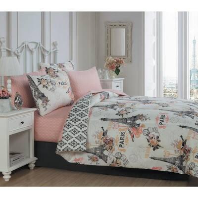 Cherie 8-Piece Coral Queen Comforter Set