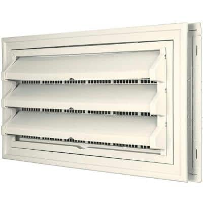 9-3/8 in. x 17-1/2 in. Foundation Vent Kit with Trim Ring and Optional Fixed Louvers (Galvanized Screen) #034 Parchment