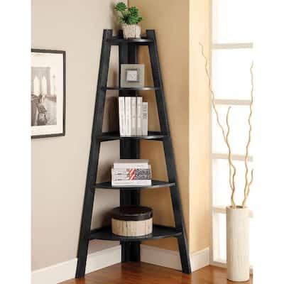 64 in. Black Wood 5-shelf Corner Ladder Bookcase with Open Storage