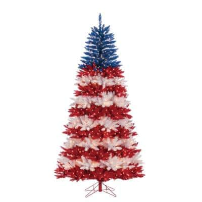 7.5 ft. Patriotic America Artificial Christmas Tree in Red, White and Blue with 1040 Clear and Red Lights