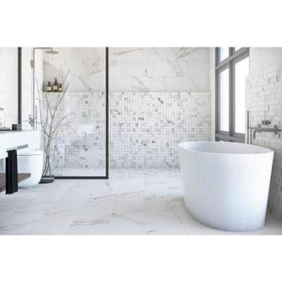 Belmar White 12 in. x 24 in. Porcelain Floor and Wall Tile (14  sq. ft. / case)
