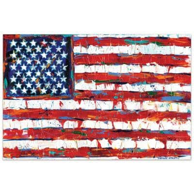 """""""Dramatic Stars & Stripes - American Flag"""" by EAD Art Coop Frameless Free-Floating Tempered Art Glass Wall Art"""