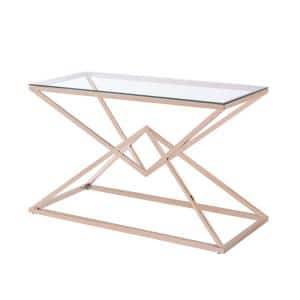 Pyramid 48 in. Gold/Clear Rectangle Glass Console Table