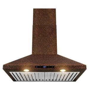 30 in. 343 CFM Convertible Kitchen Wall Mount Range Hood in Embossing Copper with LED and Touch Panel