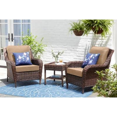 Cambridge Brown Wicker Outdoor Patio Lounge Chair with Sunbrella Beige Tan Cushions