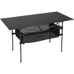 Black Aluminum Outdoor Portable Folding Camping Picnic Table with Extension