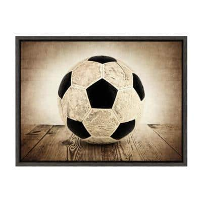"""Sylvie """"Vintage Soccer on Wood"""" by Saint and Sailor Studios Sports Framed Canvas Wall Art 24 in. x 18 in."""