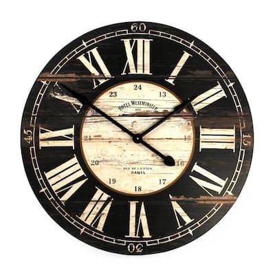 Round Antique Black Roman Numeral Wooden Clock