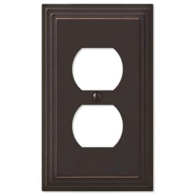 Aged Bronze Tiered 1-Gang Duplex Metal Wall Plate (4-Pack)