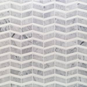 Blazon White Carrara Herringbone 11 3/4 in. x 11 5/8 in. Marble Mosaic tile