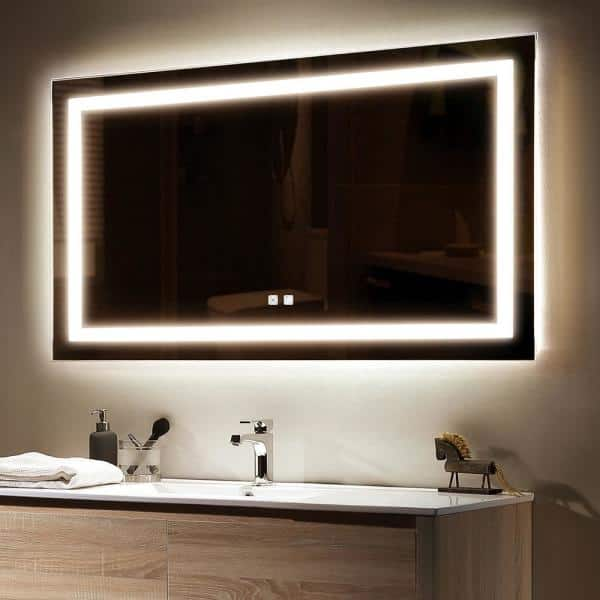 Toolkiss 40 In W X 24 H Frameless, Bathroom Vanity Mirror With Lights