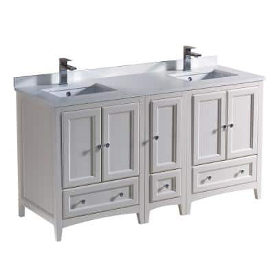 Oxford 60 in. Double Vanity in Antique White with Quartz Stone Vanity Top in White with White Basin with Side Cabinet