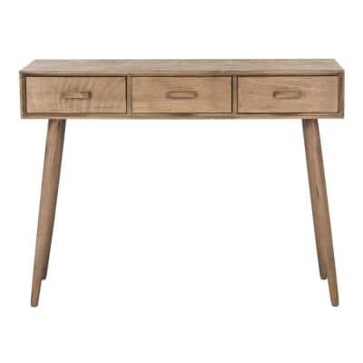 Albus 42 in. Desert Brown Standard Rectangle Wood Console Table with Drawers