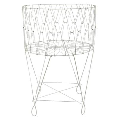 27 in. x 40 in. Vintage White Wire Laundry Basket Hamper