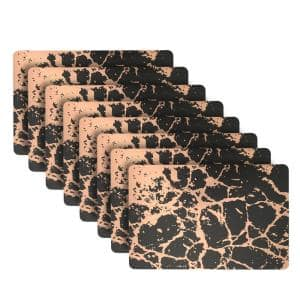 Marble 18 in. x 12 in. Black/Rose Gold Cork Placemat (Set of 8)