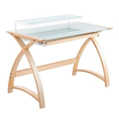 Bentley 43 in. Natural Wood and White Frosted Glass Computer Desk with Pull-Out-Drawer