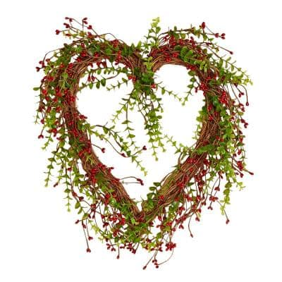 17 in. Artificial Red Berry Heart Wreath