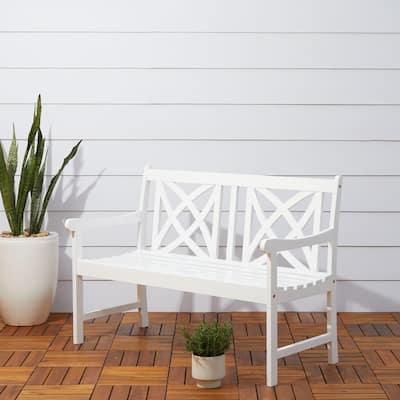 Bradley 4 ft. White Acacia Outdoor Bench