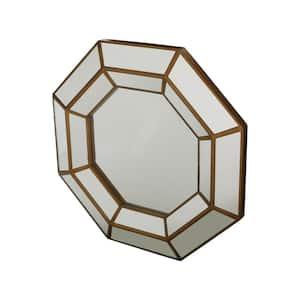 Medium Round Gold Modern Mirror (23.72 in. H x 34 in. W)