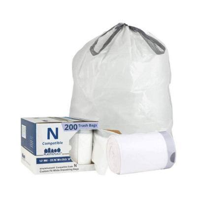22.75 in. x 31.5 in. 12 Gal. to 13 Gal. White Drawstring Garbage Liners Simplehuman (x) Code N Compatible (200-Count)