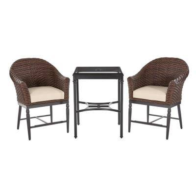 Camden Dark Brown 3-Piece Wicker Outdoor Patio Balcony Height Bistro Set with Sunbrella Beige Tan Cushions