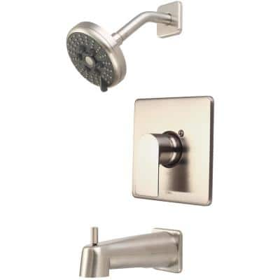 i4 1-Handle Wall Mount Tub and Shower Faucet Trim Kit in Brushed Nickel with Rain Showerhead (Valve not Included)