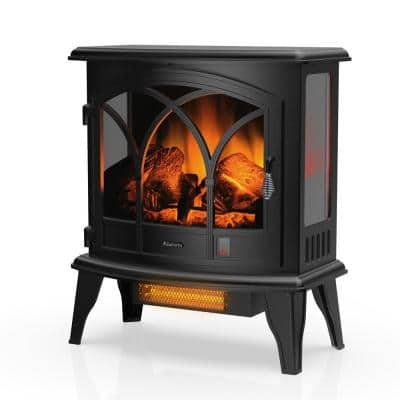 Suburbs 23 in. Black Freestanding Electric Fireplace Infrared Space Heater with Curved Door, Remote Control