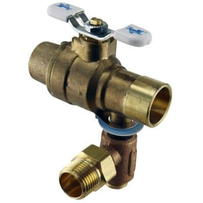 3/4 in. LF Brass Full Port Solder Ball Valve with Integral Thermal Expansion Relief Valve 1/2 in. NPT/Solder Outlet