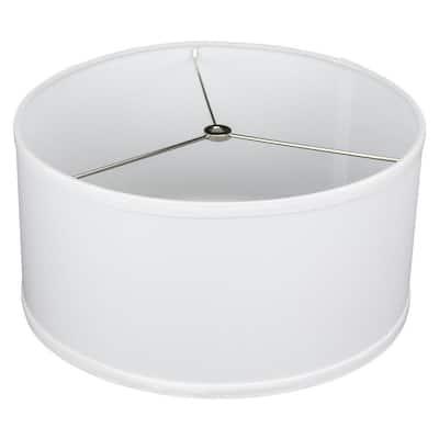 Fenchel Shades 14 in. Top Diameter x 14 in. Bottom Diameter x 7 in. Height, Drum Lamp Shade - Linen White