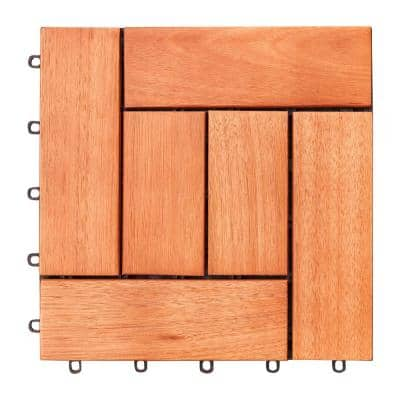 Malibu 1 ft. x 1 ft. Interlocking Eucalyptus Wood Deck Tile in Red Brown (10 Per Box)