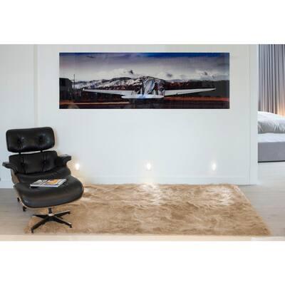 Hudson Tan 5 ft. x 8 ft. Faux Sheepskin Indoor Rug
