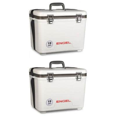 19 qt. Fishing Live Bait Dry Box Ice Cooler with Strap, White (2-Pack)