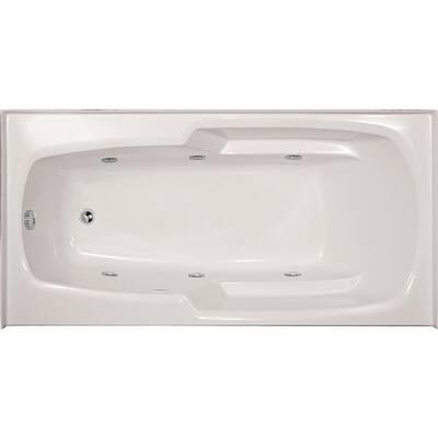Entre 66 in. x 32 in. Rectangular Drop-in Whirlpool Bathtub in White