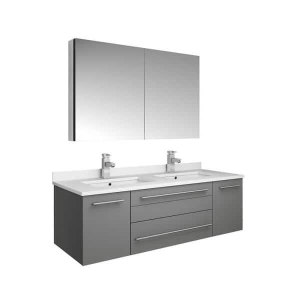 Fresca Lucera 48 In W Wall Hung Vanity In Gray With Quartz Double Sink Vanity Top In White With White Basins Medicine Cabinet Fvn6148gr Uns D The Home Depot