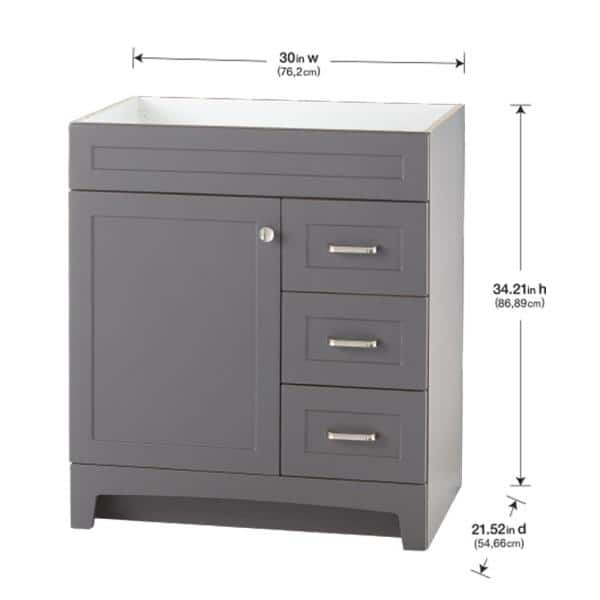 Home Decorators Collection Thornbriar 30 In W X 21 In D Bathroom Vanity Cabinet In Cement Tb3021 Ct The Home Depot