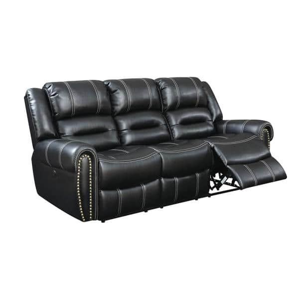 William's Home Furnishing Frederick 37.00 in. Black Solid Leather 3-Seat Motion Sofa with Reclining   The Home Depot