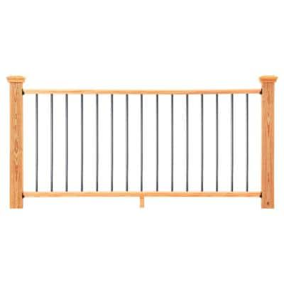 6 ft. Cedar-Tone Southern Yellow Pine Moulded Rail Kit with Aluminum Round Balusters
