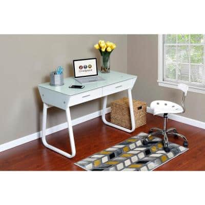 44 in. Rectangular White 2 Drawer Writing Desk with Built-In Storage