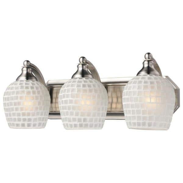 Titan Lighting 3 Light Satin Nickel Vanity Light With White Mosaic Glass Tn 5726 The Home Depot