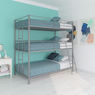 Cormac Silver Metal Twin Triple Bunk Bed