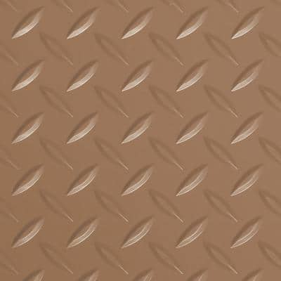 Diamond Tread 7.5 ft. x 17 ft. Sandstone Commercial Grade Vinyl Garage Flooring Cover and Protector